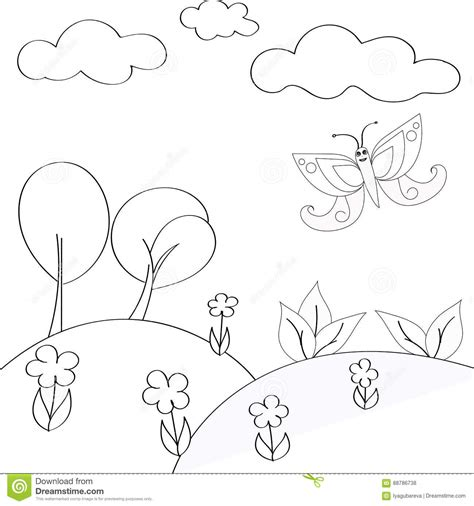 childrens coloring elements  nature   background