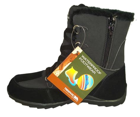trespass black waterproof snow walking boots ebay