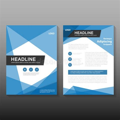 abstract blue low polygon leaflet brochure flyer template abstract blue vector annual report leaflet brochure flyer