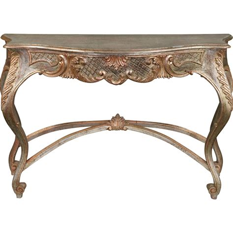 vintage italian silver gilt carved wood console table from