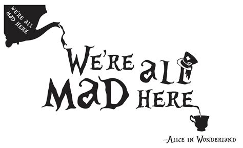 alice in wonderland we re all mad here wall art by dspvinyls