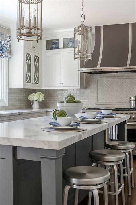 Classic White Kitchen with Grey Backsplash   Home Bunch