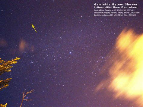 Bright Light In The Sky Tonight by Brilliant Geminid Meteor Shower Dazzles Brunei Sky