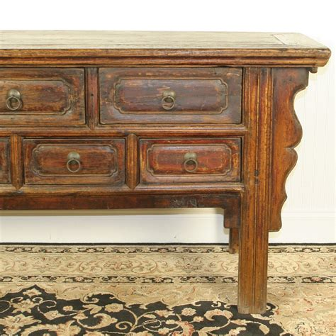 antique 68 inch console table 7 drawers