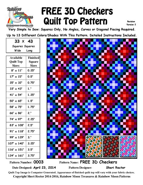 printable directions for checkers 0003 free 3d checkers quilt pattern