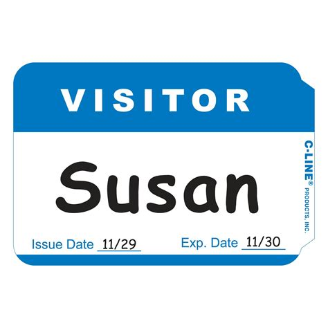 visitor badge template c line pressure sensitive peel and stick