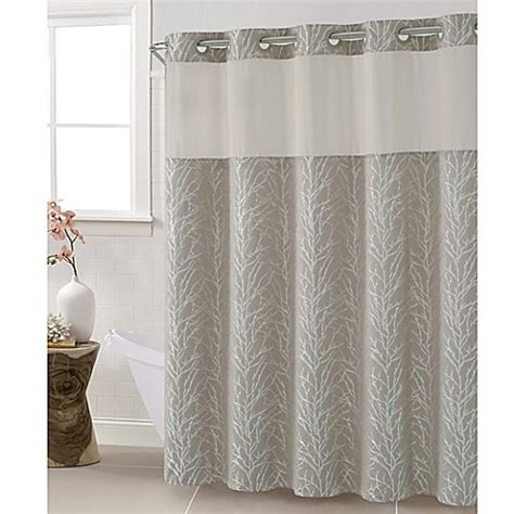 hookless jacquard tree branch shower curtain  taupe