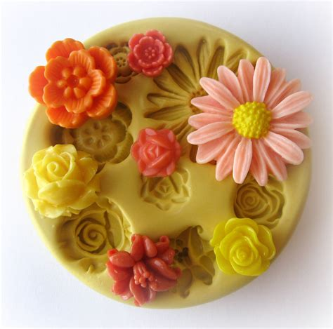 Silicone Mold Flower Molds Silicone Mold Cabochon Flower Mold Resin Polymer Clay