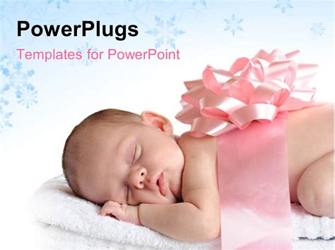 theme ppt free download baby powerpoint template sleeping newborn wrapped in a broad