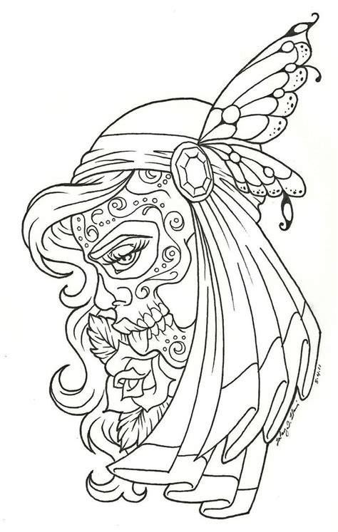 Sugar Skull Woman Skull Pinterest Coloring The Dead Pin Up Coloring Pages Printable