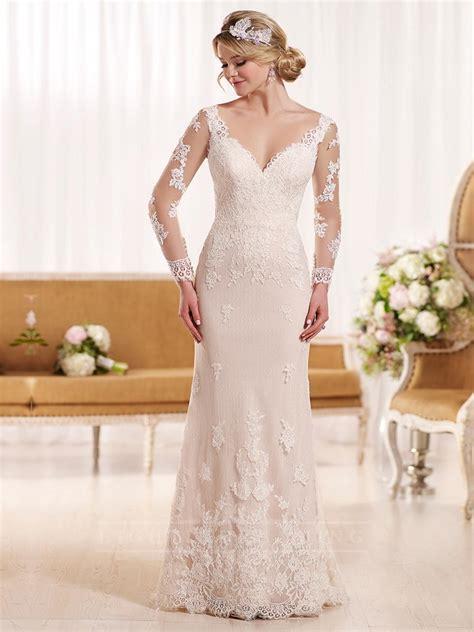 Lace Sleeve V Neck Sheath Dress illusion lace sleeves v neck sheath wedding dress with