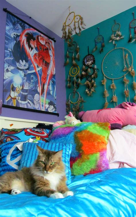 indie hipster bedroom idea dream catcher and comfy bed dragon ball z dbz goku dream room bedroom bed room