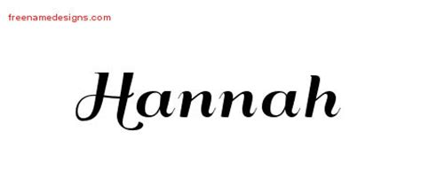art deco name tattoo designs hannah printable free name