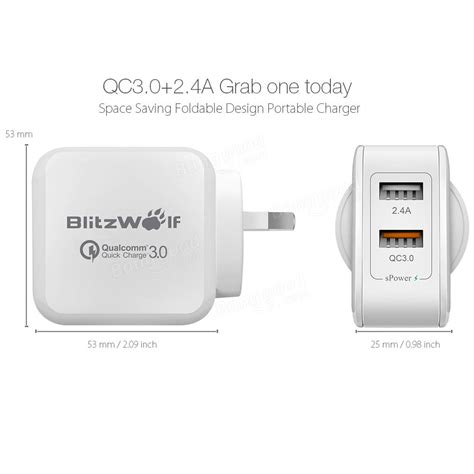 apple quick charge qualcomm certified blitzwolf 174 bw s6 quick charge 3 0 2