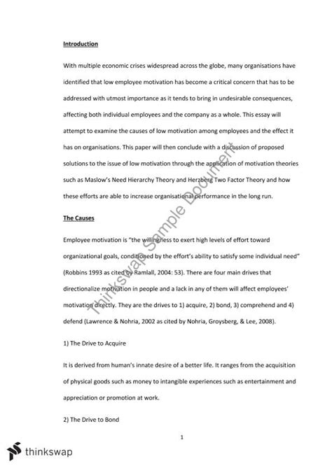 Employee Motivation Essay by Low Employee Motivation Assignment Essay Mgts1601 Organisational Behaviour Thinkswap