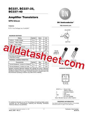 bc337 npn transistor datasheet pdf bc337 datasheet pdf on semiconductor