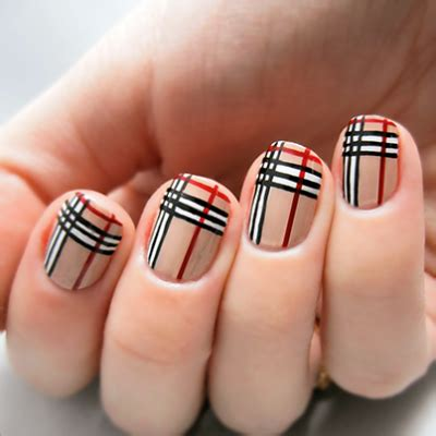 plaid pattern nails fall in love with these burberry nails