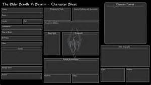 skyrim character templates skyrim character sheet blank by empressofice12 on deviantart