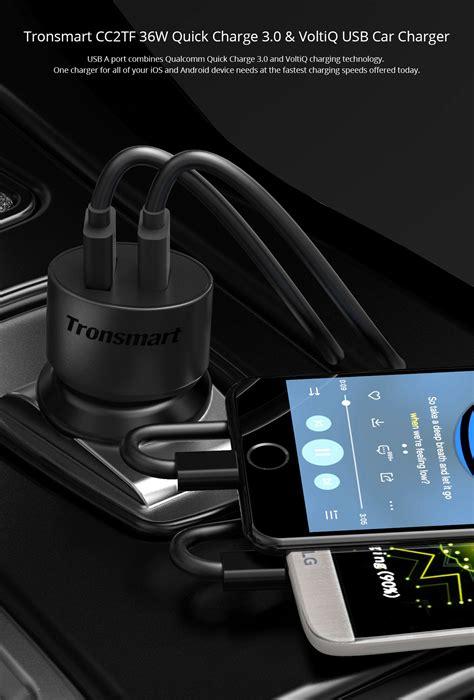 Tronsmart Ts Cc2tf 2 Port Charge 30 Car Charger Cc04p tronsmart charge 3 0 36w 2 ports type a usb car charger