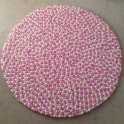 Round Jute Rugs Felt Ball Rug In Pink Light Pink White Amp Sand Round