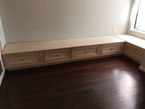 custom made banquette seating hand made seating banquette seating with large storage drawers by reslan woodworking