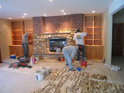 covering fireplace re cover a brick fireplace with stone house design
