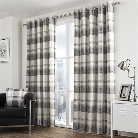 gray and cream striped curtains check striped grommet lined 2 eyelet curtain panels red