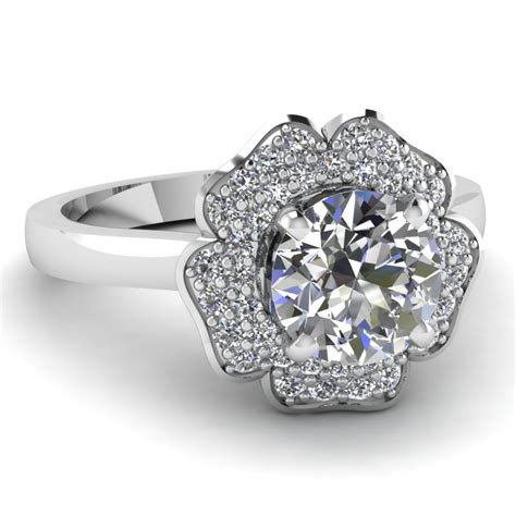 7 Engagement Rings From Since1910 by Cut Halo Flower 2 Row Engagement Ring In 950