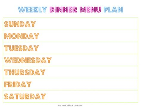 family dinner menu template 30 family meal planning templates weekly monthly budget