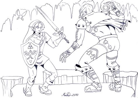 Colouring Zelda By Yikyik On Deviantart Coloring Page Of Legend Of Ocarina Of Time