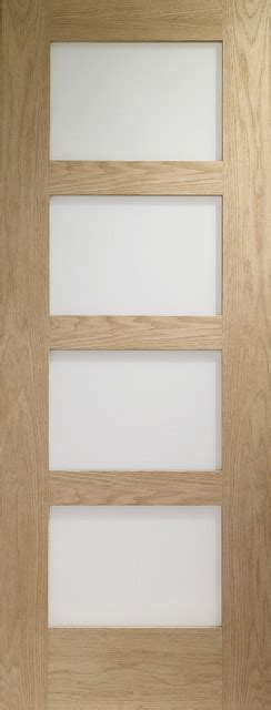 Contemporary 4 Panel Frosted Glass Door Solid Red Oak Frosted Glass Panel Interior Doors
