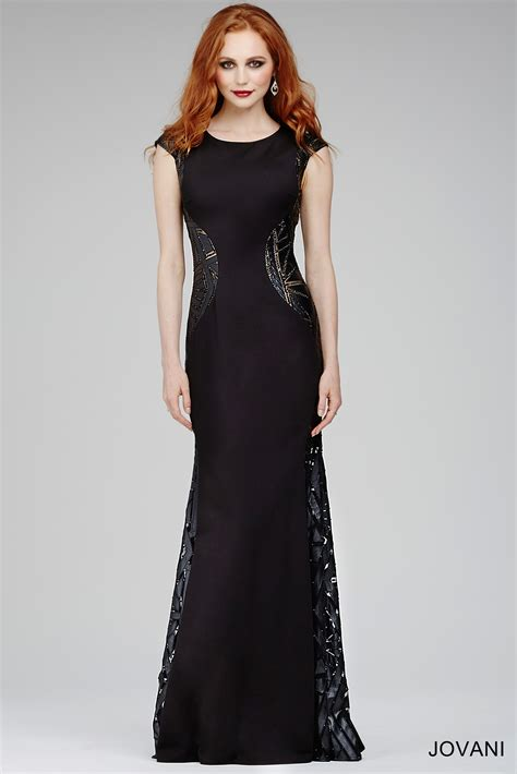 jovani  black dress jewel neckline cap sleeves