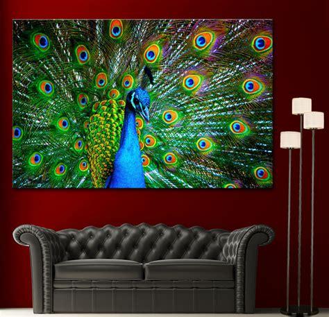 fine home decor canvas giclee prints wall art peacock photo colorful print