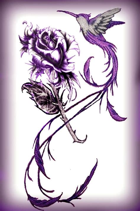 hummingbird with rose tattoos purple ink hummingbird with design tatoo s