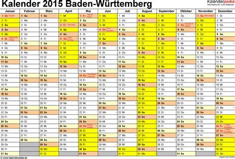 Feiertage Kalender 2015 Ferien Baden W 252 Rttemberg 2015 220 Bersicht Der Ferientermine