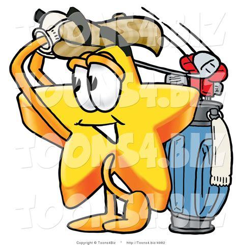 swinging on a star cartoon illustration of a cartoon star mascot swinging his golf