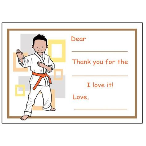 Thank You Letter To Karate Martial Arts Or Karate Fill In The Blank Thank You Notes Mandys Moon Personalized Gifts