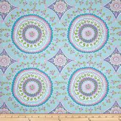 100 design house 20x50 the four circular fabric flower power polka dots puprle lime green aqua fabric new