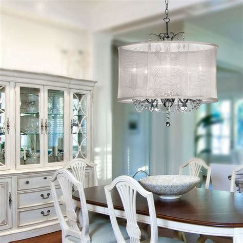 Organza Silk Drum Shade Crystal Chandelier Contemporary Dining Room Drum Light