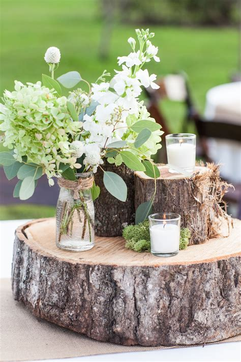 Rustic Farm Wedding Tree Trunk Centerpieces Candles Moss