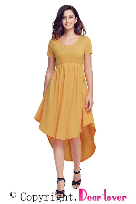 casual swing dress sexy yellow short sleeve high low pleated casual swing dress