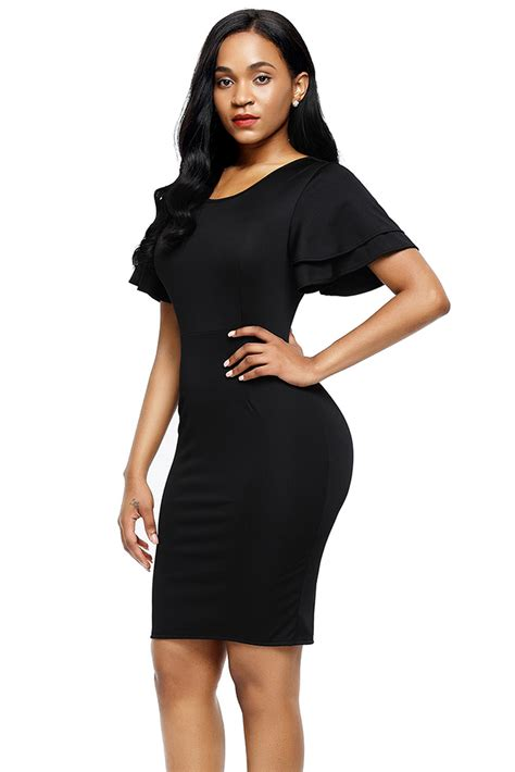 Slit Sleeve Sheath Dress wholesale black flare sleeve back slit sheath dress