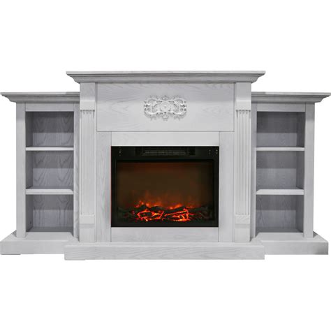 Cambridge Sanoma 72 In Electric Fireplace In White With Electric Fireplace With Bookshelves