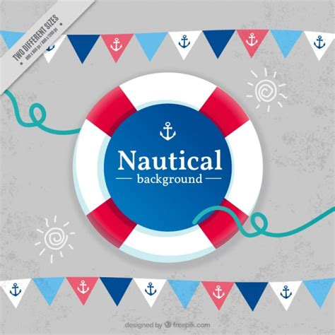 nautical background nautical background with garlands and preserver