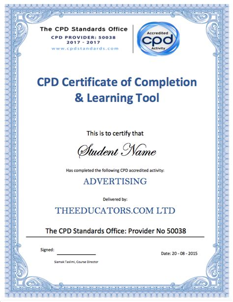 cpd certificate template the educators and certification