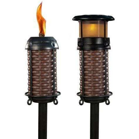 solar tiki lights home depot tiki and solar resin weave torch 111241167 the