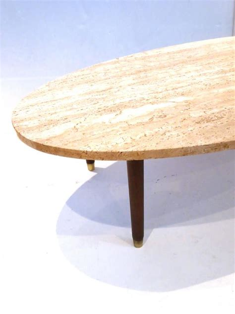 marble wood coffee table mid century modern marble and wood tapered legs oval