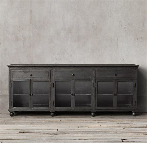 annecy metal wrapped glass large sideboard restoration