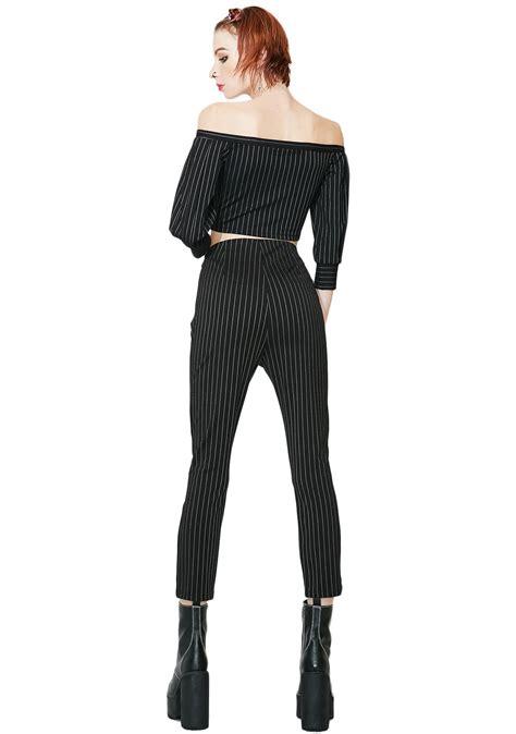 Striped High Waist Cropped high waist cropped striped black dolls kill