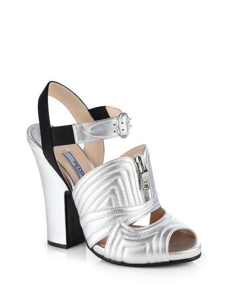 Sandal Wedges Prada Made In Italy lyst prada metallic leather satin sandals in metallic